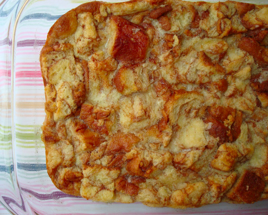 Top View of Gooey Brown Bread Pudding