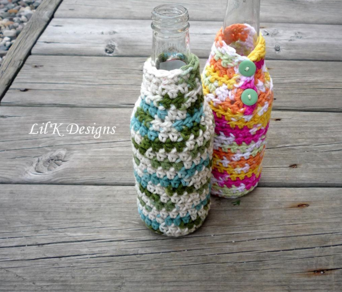 Two Glass Bottles with Knit Coverings