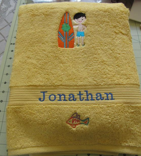Yellow Beach Towel with Embroidered Name and Picture