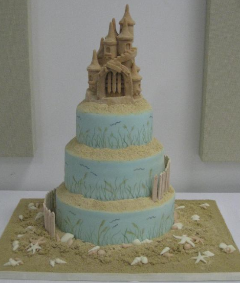 Beach-Themed Tiered Cake Topped with Sand Castle