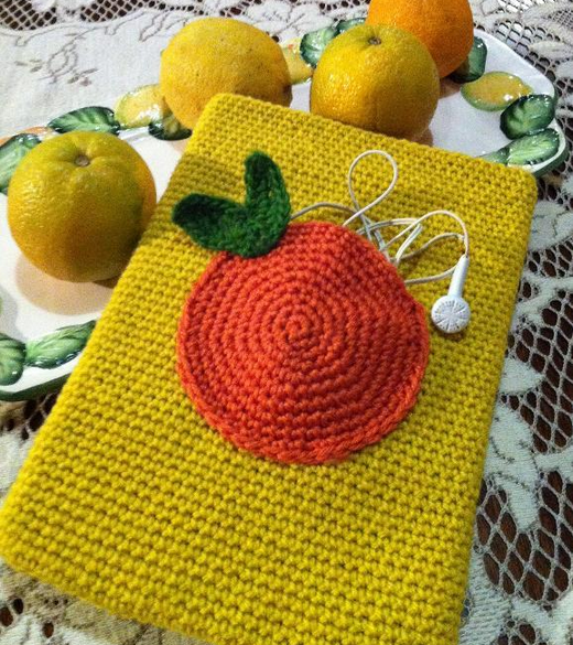 Yellow Crocheted Case with Orange Design