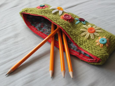 Knit Floral Pencil Case with Pencils Sticking Out