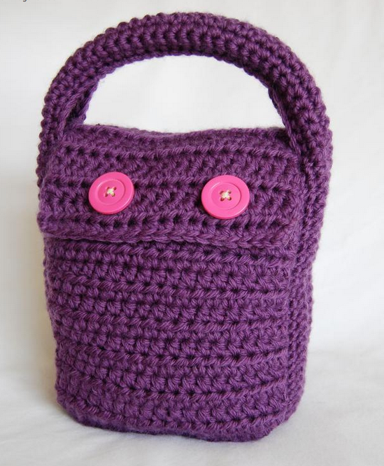 Purple Crocheted Lunch Clutch with Pink Buttons