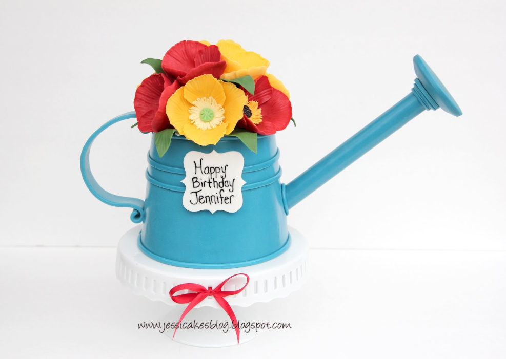Cake Shaped as Watering Can with Flowers