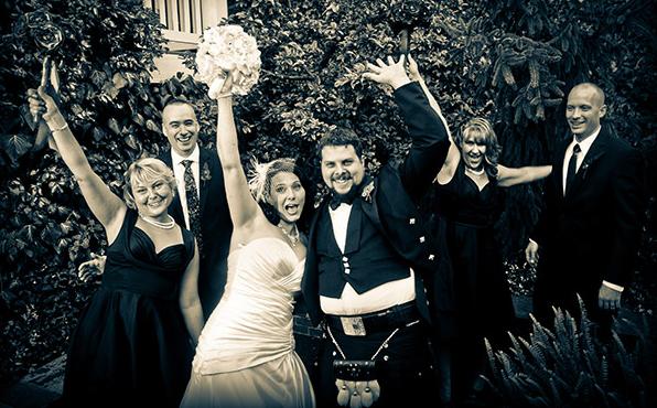 Wedding Party Celebratory Photo - Black and White