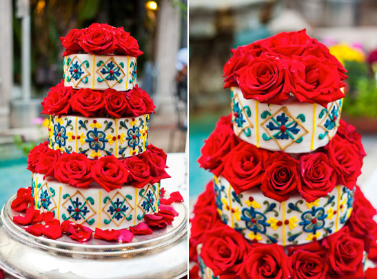 Tiered White Cake with Blue and Yellow Designs and Red Roses