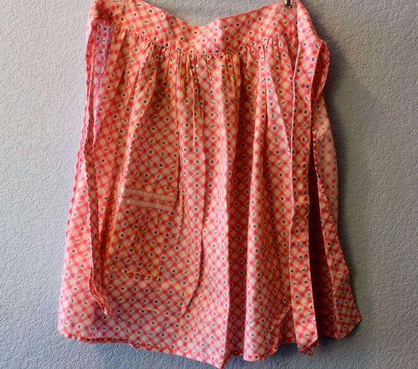Orange Patterned Vintage Apron Hanging