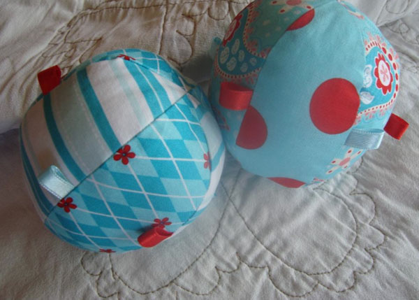 Two Blue Patterended Baby Balls