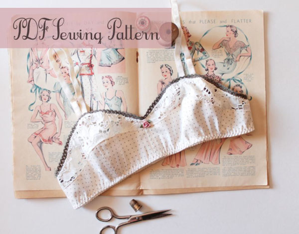 Vintage Style Bra Laying on Pattern Book