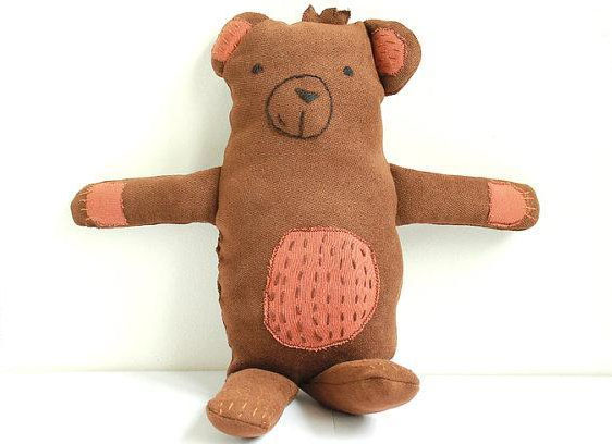 Brown Stuffed Teddy Bear with Patterned Tummy