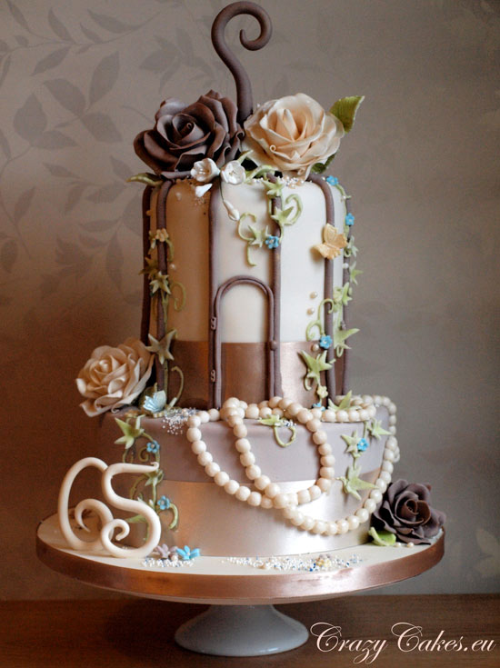 Tiered Birdcage Wedding Cake with Pearl Decoration and Roses