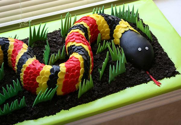 Cake in Shape of Multi-Colored Snake