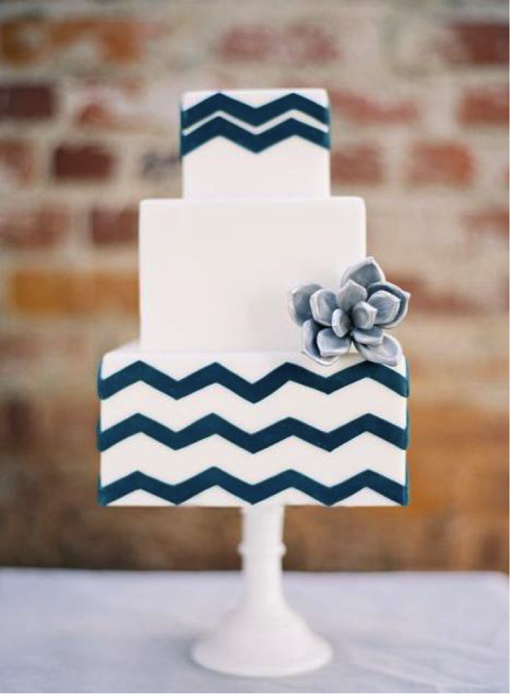 Blue Chevron Cake