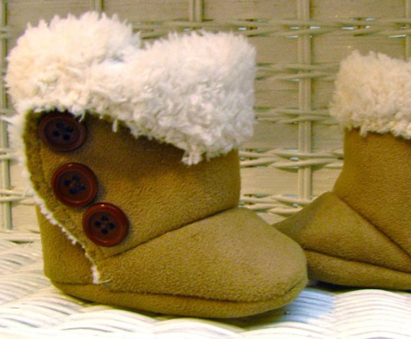 Green Baby Boots with Brown Buttons