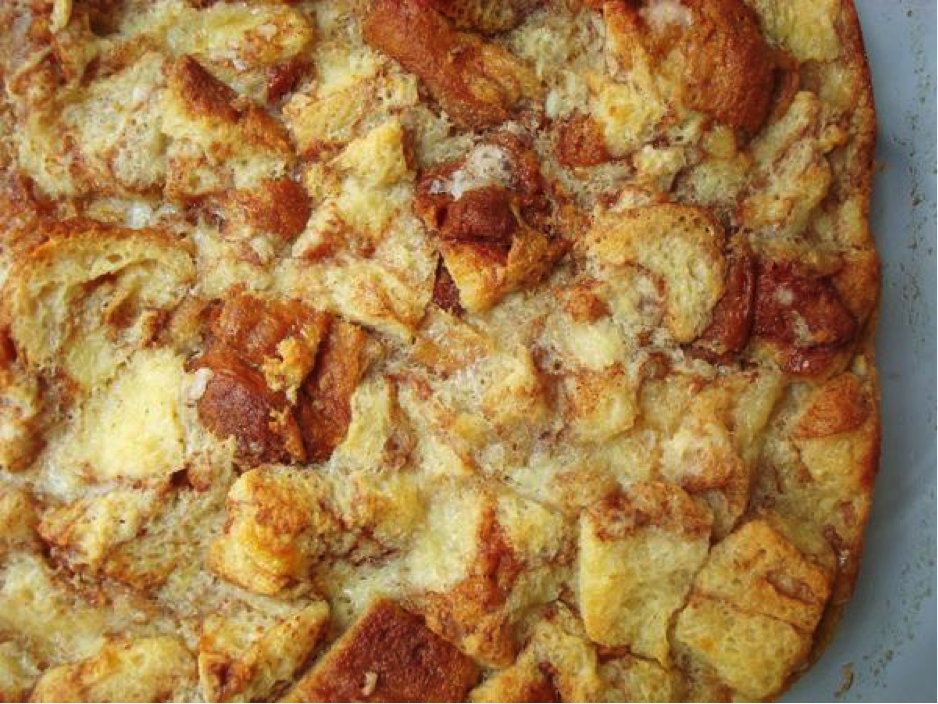 Close Up of Golden Brown Bread Pudding