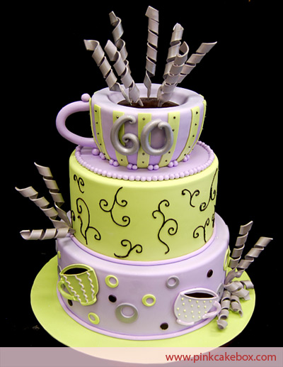 Tiered Yellow and Purple Cake with Coffee Cup Topper