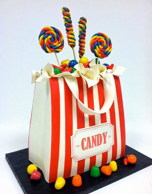 Cake in Shape of Striped Bag with Candy Peeking Out