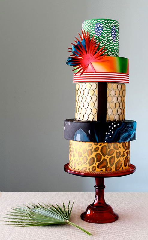 5 Tiered Multicolored Cake, Each Layer a Different Pattern and Design