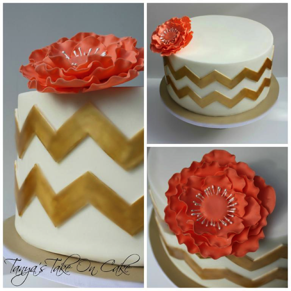 White and Gold Chevron Cake with Flower