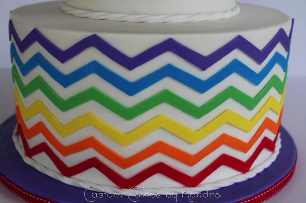 Chevron Cake with Rainbow Stripes