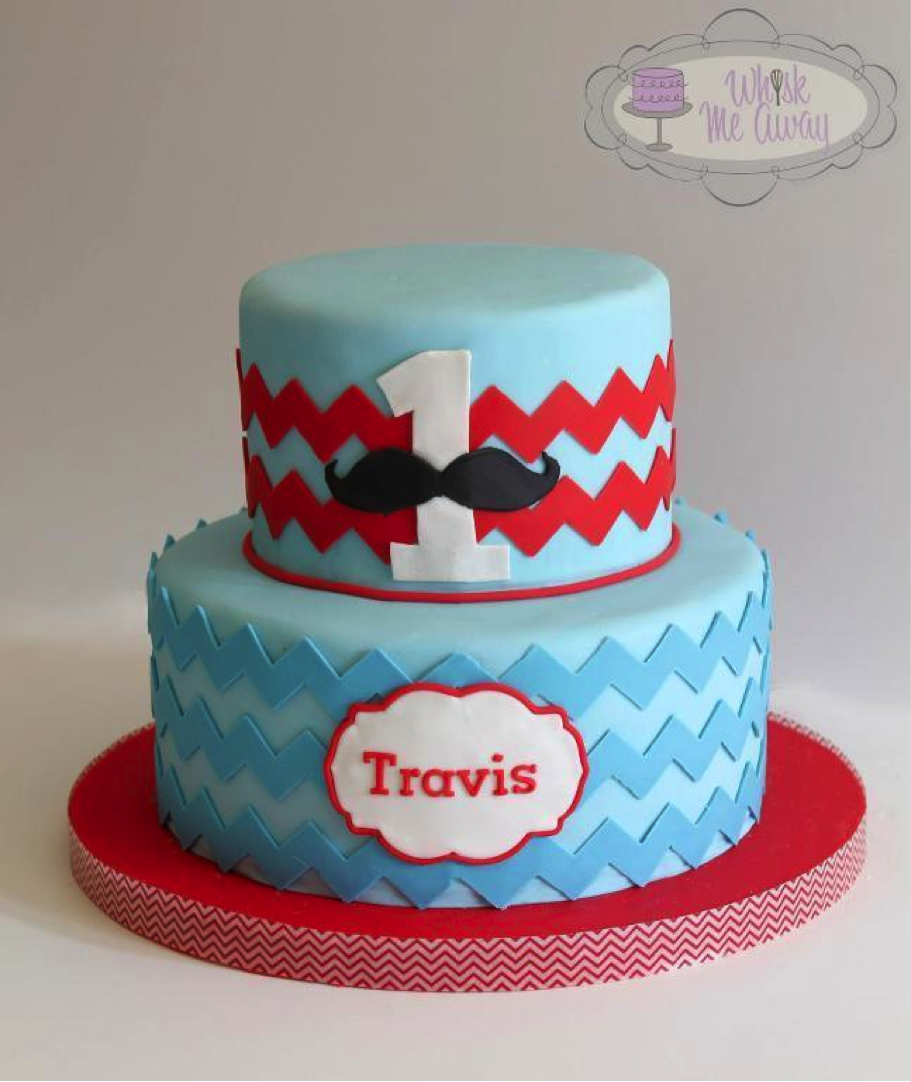 Chevron Cake Decorated with Mustaches