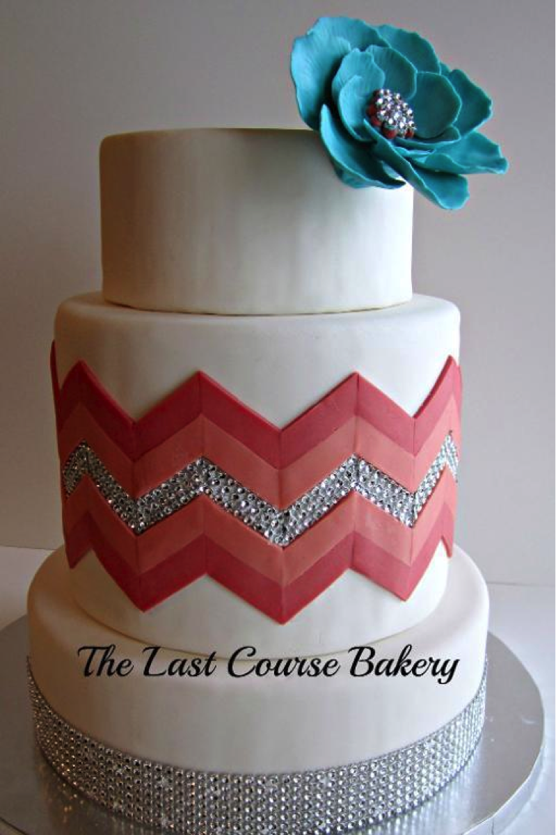 White Chevron With Pink and Sparkle Stripes