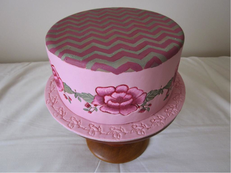 Pink Flower Cake with Chevron Top