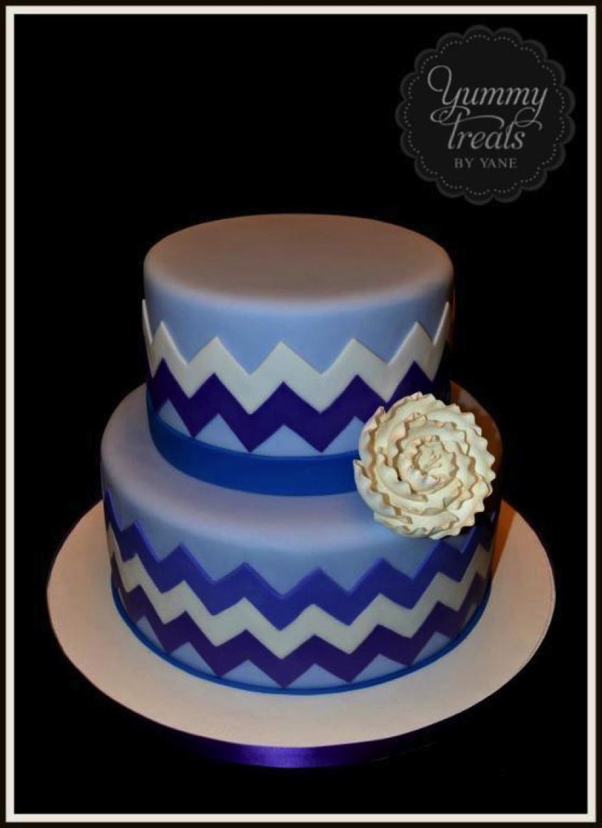 Blue Chevron Cake with White Flower