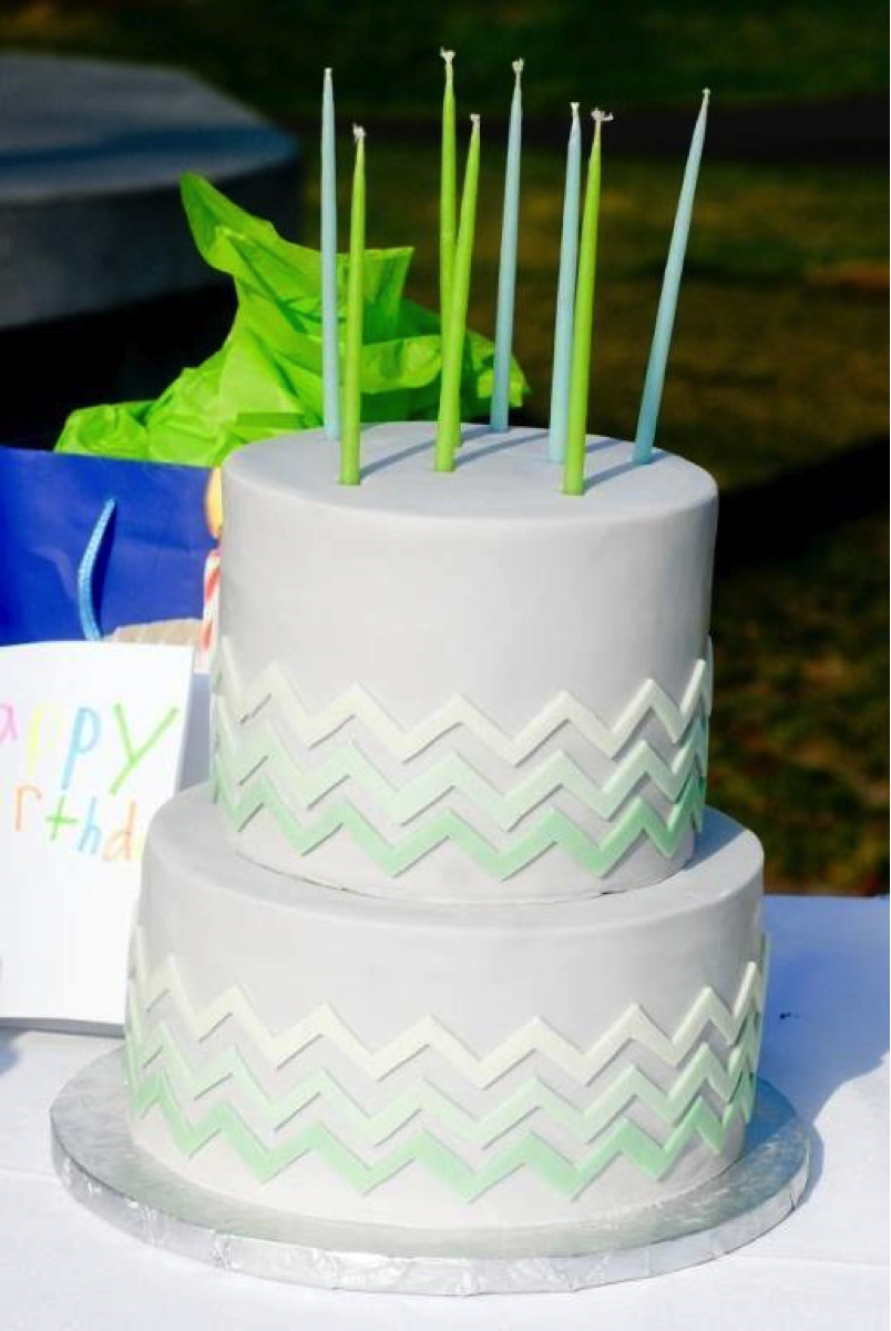 Green Ombré Chevron Cake with Green Candles