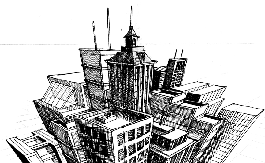 Drawing of a 3-point City Skyline