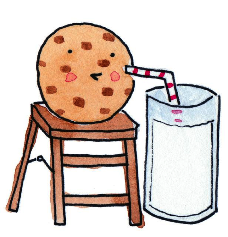 Cartoon of Chocolate Chip Cooking on Stool Drinking Milk
