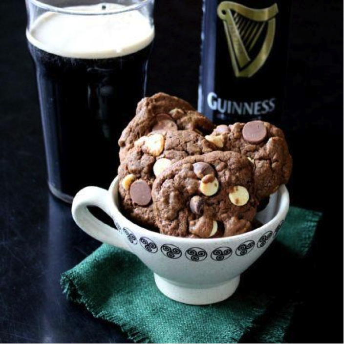 Pint of Guinness Next to Chocolate Chip Cookie Stack