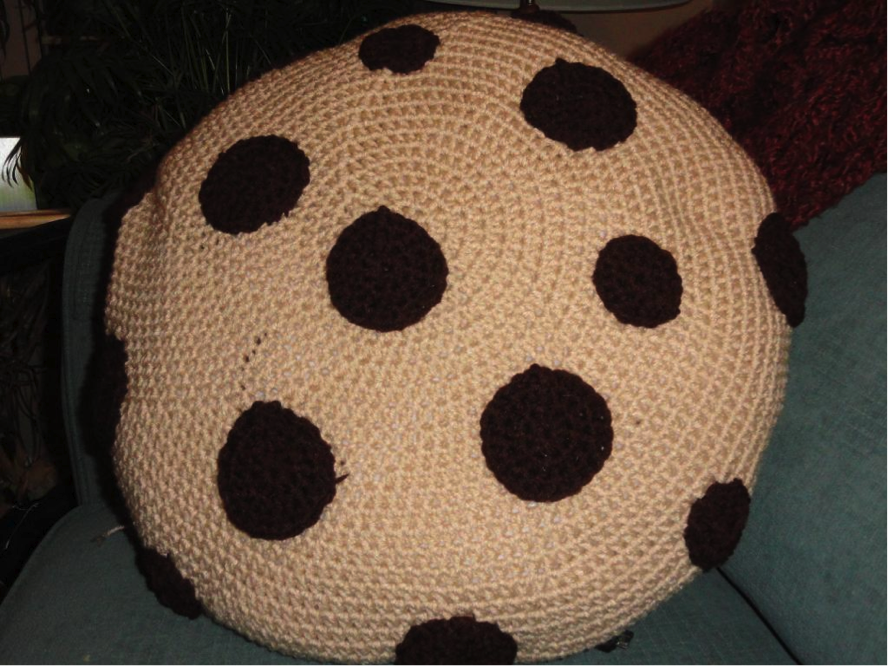 Knit Pillow Shaped Like a Chocolate Chip Cookie