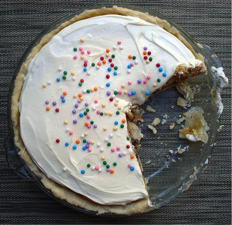 Pie with White Frosting and Sprinkles