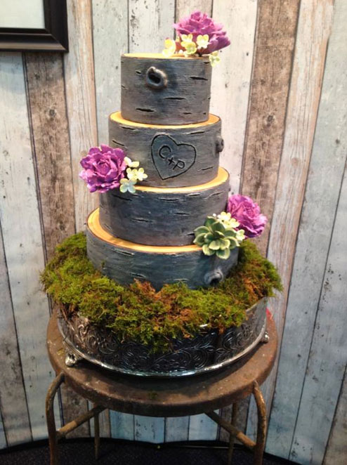 Tiered Cake in Shape of Tree with Aspen Bark