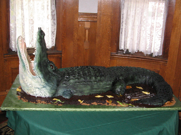 Alligator Cake with Raised Head and Open Jaws