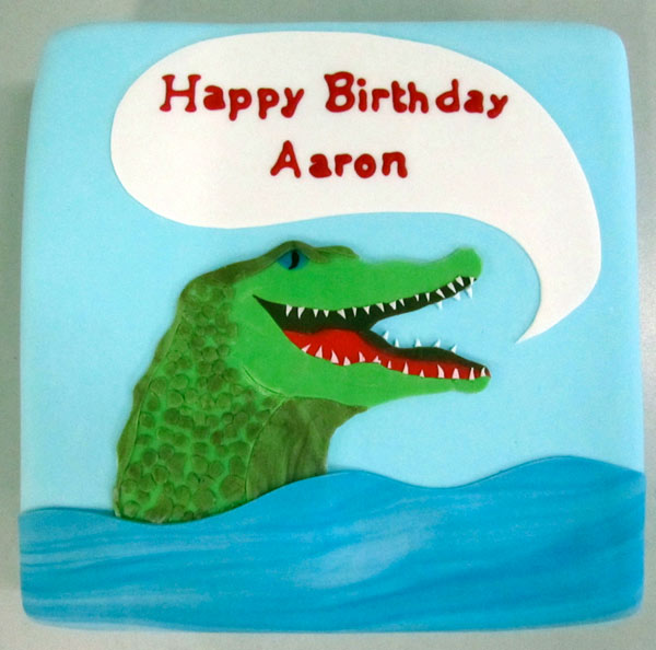 Birthday Cake with Cartoon Crocodile