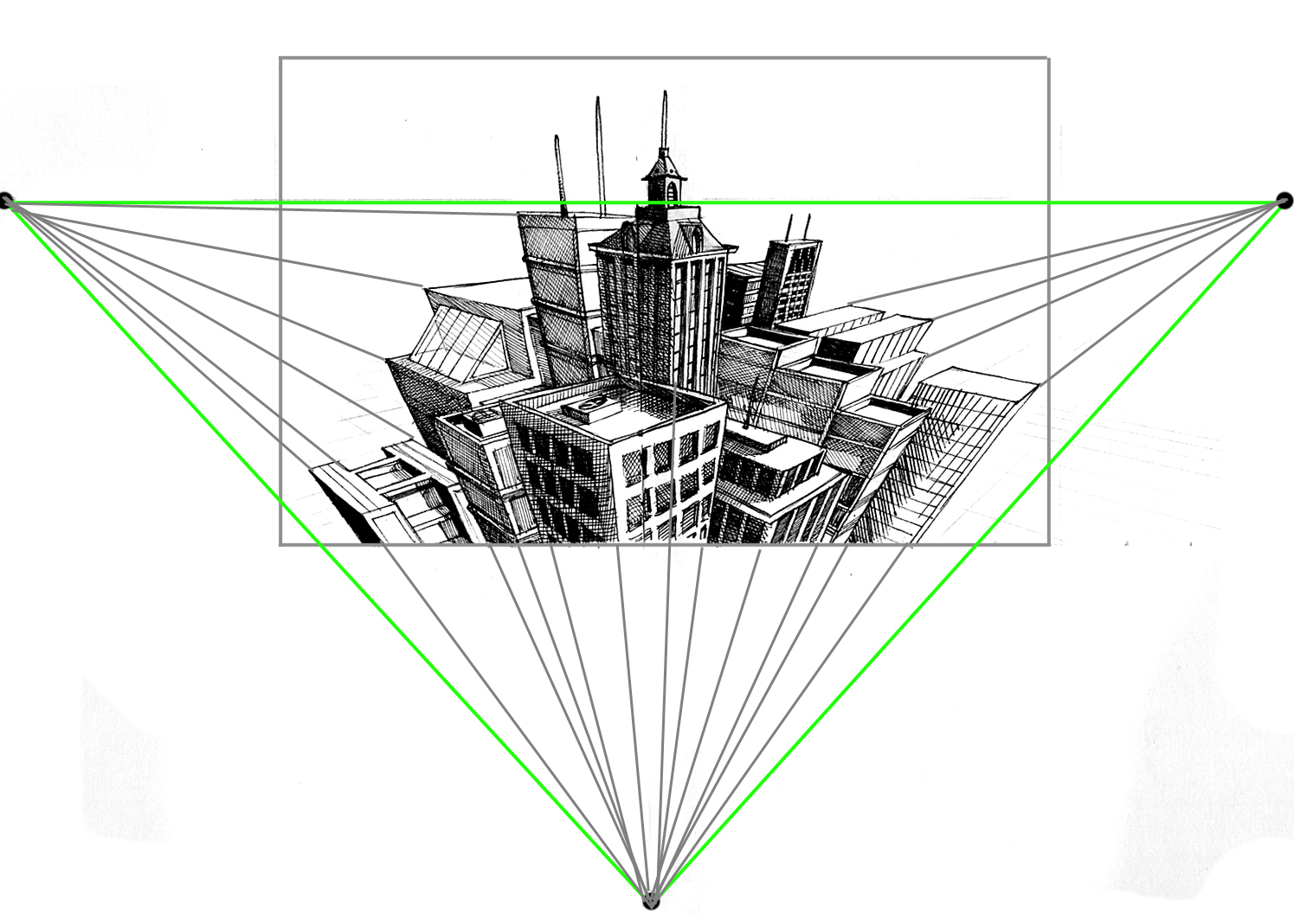 3 Point Perspective Diagram with Cityscape in Center