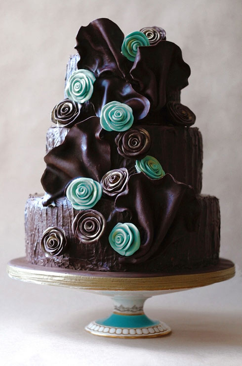 Tiered Chocolate Ruffle Cake with Teal Flowers