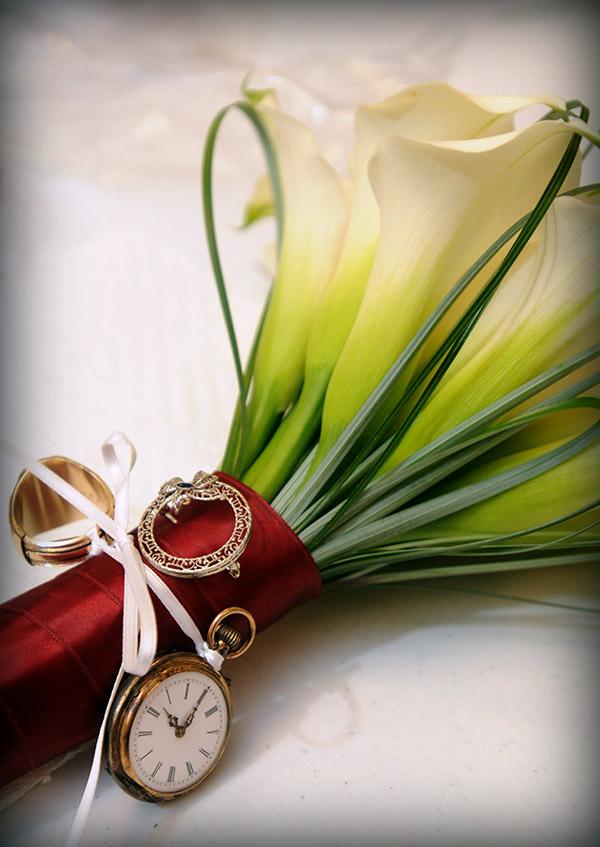 Detail Shot of Wedding Bouquet Made of Lillies