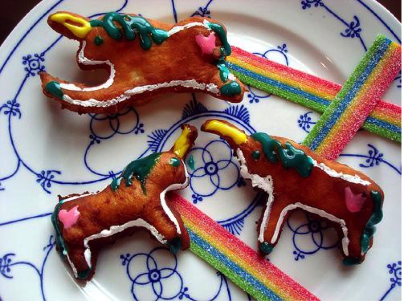 Little Unicorn Doughnuts on Plate with Rainbow Candy