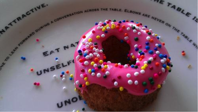 Little Doughnut Cookie with Pink Icing and Sprinkles