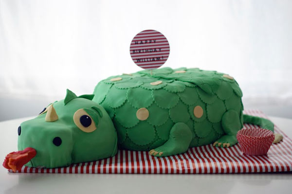 Cake in Shape of Green Dragon with Tongue Out