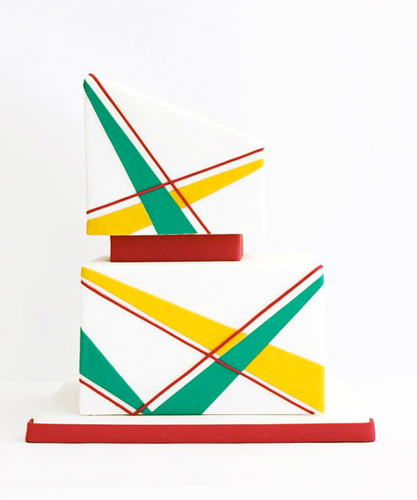 Two Tiered Square Cake with Yellow and Green Diagonal Lines