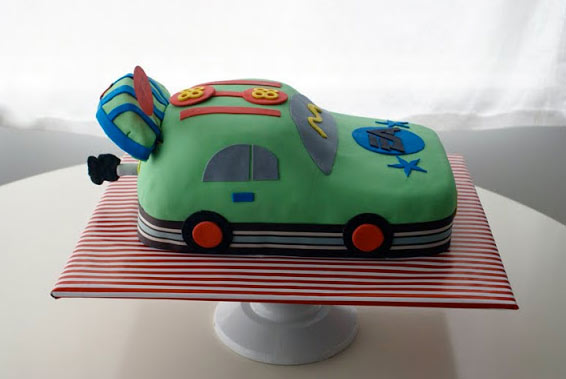 Green Car Cake on Stripped Cake Stand