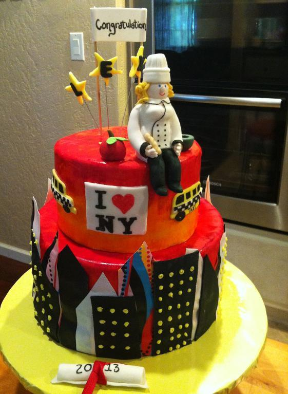 "Molded Chef Topping Red ""I Love NY"" Cake"