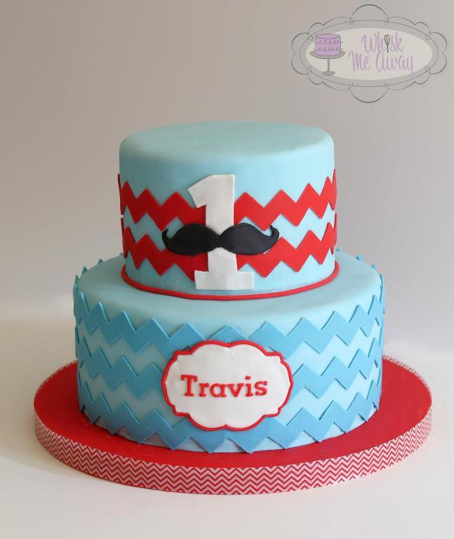 Blue 1st Birthday Cake with Red Chevron Stripes and Mustache