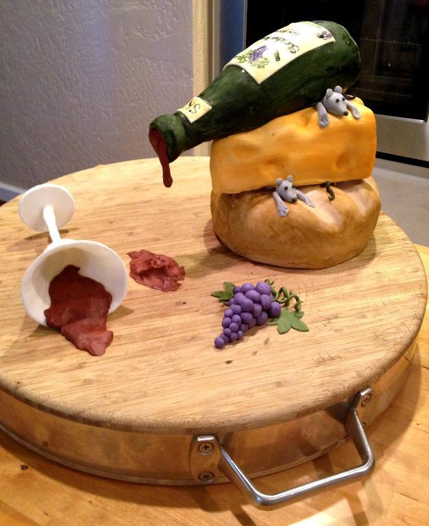 Cake Shaped Like Cheese, Mice, Spilling Wine Bottle and Spilling Wine Glass