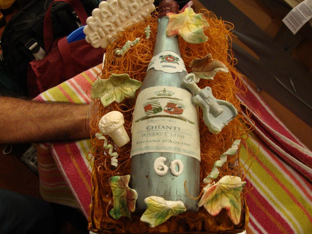 Cake in Shape of Wine Bottle with Wine Accoutrements