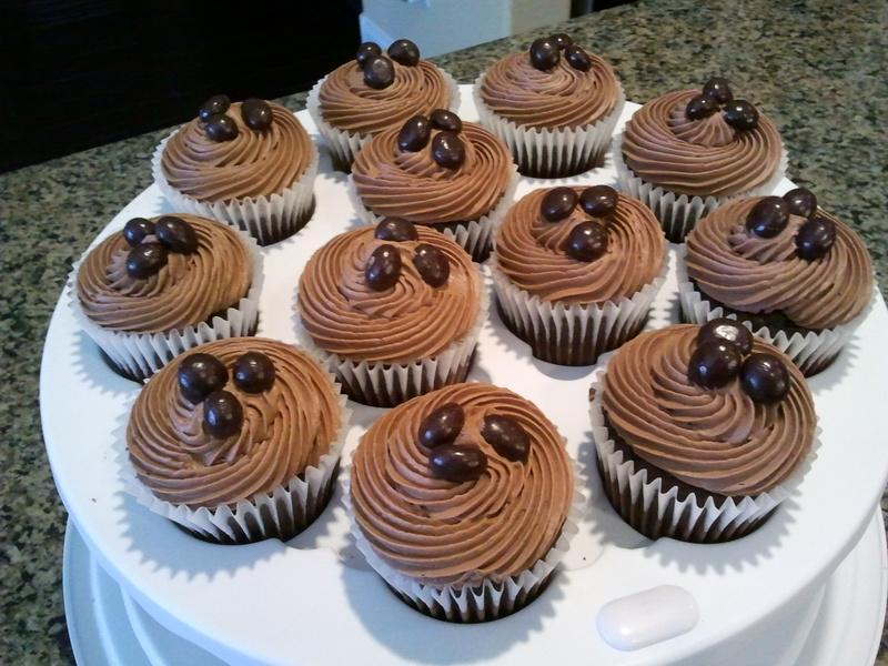 Dozen Cupcakes Topped with ChocolateCoffee Beans